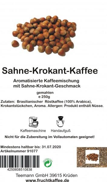 Sahne Krokant aromatisierter Kaffee gemahlen 250g Grundpreis 26.00/Kg