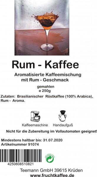 Rum aromatisierter Kaffee gemahlen 250g Grundpreis 26.00/Kg