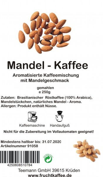 Mandel aromatisierter Kaffee gemahlen 250g Grundpreis 26.00/Kg