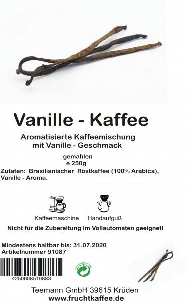 Vanille aromatisierter Kaffee gemahlen 250g Grundpreis 26.00/Kg