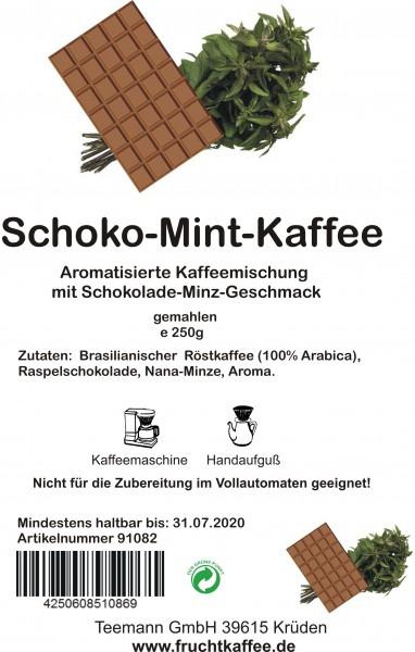 Schoko Mint aromatisierter Kaffee gemahlen 250g Grundpreis 26.00/Kg